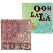 "Grasslands Road Her Majesty 4-1/2-Inch ""Ooh La La"" And ""Cute"" Tidbit Dishes 2 Styles, Set Of 2 Gift Boxed With..."
