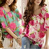 Allegra K Women Flower Print Elastic Scoop Neck Chiffon Blouse