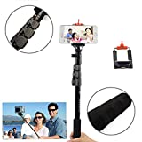 Tomeasy® Extendable Self Portrait Selfie Handheld Stick Monopod Metal Pole with Tripod Mount and Phone Clamp for GoPro HD Hero 1 Hero 2 Hero 3,DV/Camcoder/Camera/Cell Phone,Apple iPhone Samsung HTC Sony,and other iOS and Android Smartphone(Black)