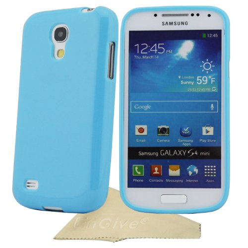 EnGive Slim Soft TPU Sweet Jelly Color Cover Case For Samsung Galaxy S4 Mini I9190 I9192 I9195 With Cleaning Cloth (Sky Blue)
