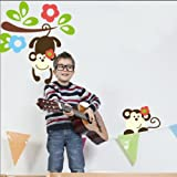 Blansdi Cartoon Monkey Forest Monkey Tree Wall Stickers export models in Europe and America