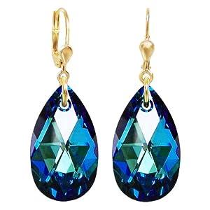 Vergoldete Ohrringe SWAROVSKI ELEMENTS Kristall Tropfen, Farbe Bermuda Blue, blau, Ohrhänger Gold-Doublé