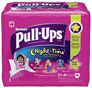 Huggies Pull-Ups Night-time Training Pants Biggie Pack Size 3T-4T Girl 46ct
