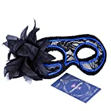 Cozypony Women's Light Up Venetian Masquerade Mask,Feathered Lace Costume Mask for Halloween,Dance Performance,Party,Mardi Gras or Prom Masks (Blue)