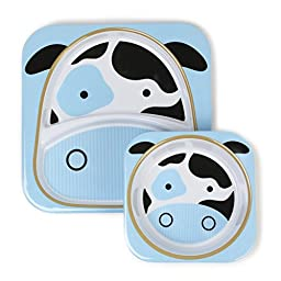 Skip Hop Zoo Melamine Plate and Bowl Set, Cow