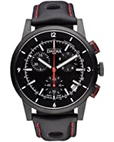Davosa Rallye Chronograph Men's Quartz Watch with Black Dial Analogue Display and Black Leather Strap 16247655
