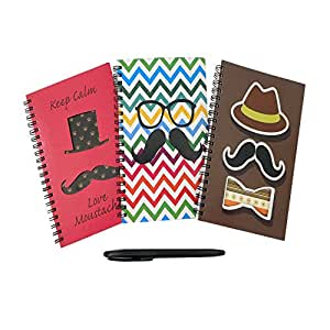 Trendy 3 Pack Mustache Journal Notebook With