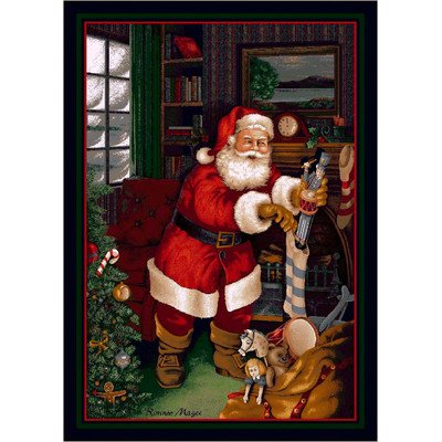 Milliken Winter Seasonal Santa's Visit Christmas Novelty Rug 5'4