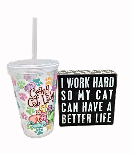 [Crazy Cat Lady Tumbler Bundle with Wood Box Sign Cat Gifts Set Great Office Gifts with Cats] (Crazy Cat Lady Simpsons Costume)