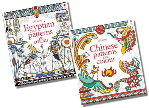 Usborne Drawing, Doodling & Colouring Patterns Collection - 2 Books RRP £11.98 (Egyptian Patterns to Colour; Chinese Patterns to Colour)