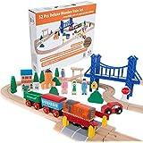 Orbrium Toys 52 Pcs Deluxe Wooden Train Set With 3 Destinations Fits Thomas, Brio, Chuggington, Melissa And Doug...