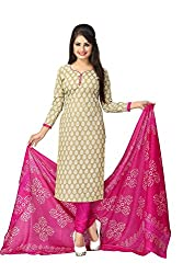 Meera Fashion World Women's Printed Unstitched Regular Wear Salwar Suit Dress Material(JC_DM_Beige)