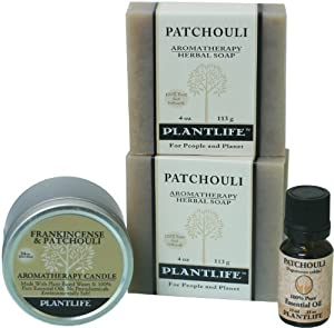 Patchouli 100% Pure & Natural Aromatherapy Herbal Soap(2), Patchouli Essential Oil & Frankincense & Patchouli Aromatherapy Candle