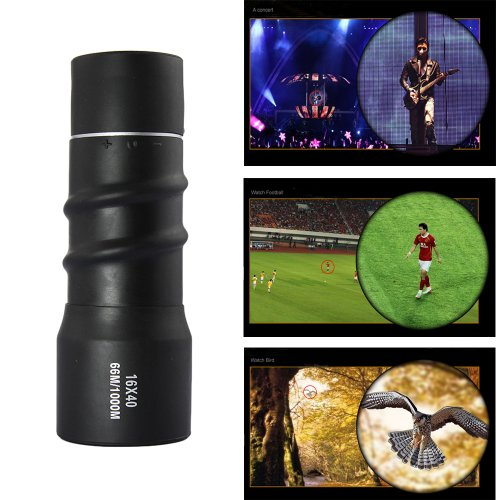 Tabstore Compact Sports Monocular Telescope Pocket Mono Spotting Scope 16X40 With Pouch Black