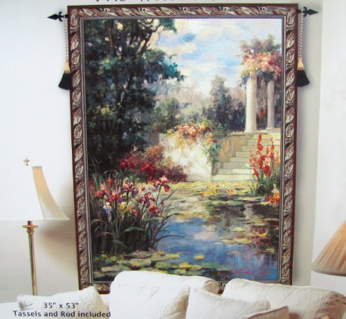 "Decorative Woven Water Garden Tapestry Wall Hanging - Tassels and Rod Included - 35"" X 53"""