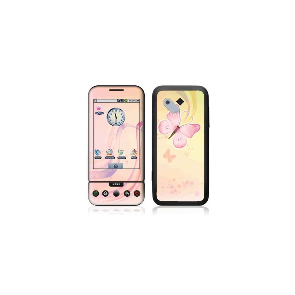 Pink Butterfly Decorative Skin Cover Decal Sticker for HTC T Mobile Google G1 Cell Phone