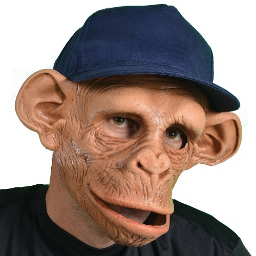 Chee Chee Monkey Latex Mask - Halloween Over The Head, Attached Baseball Cap
