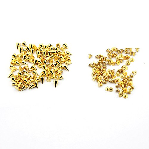 OOCOME 100PCS 7x10mm Bullet Cone Spikes Screwback Golden DIY Craft Cool Punk Rivets for Bag Shoes Jeans Bracelet