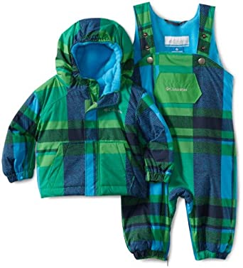Columbia Unisex-baby Infant First Snow Set, Fuse Green/Blue Plaid, 12 Months
