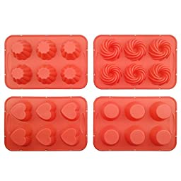 Cupcake Pan, Silicone Cake Mold with Steel Edge 4 Packs 24 Cups Silivo Muffin Mold Round, Heart, Spiral, Flower Shape
