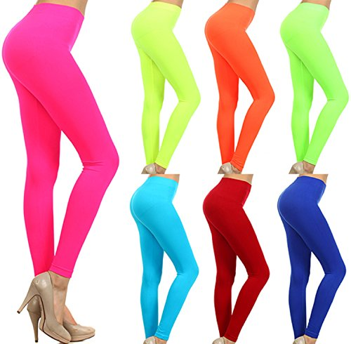 Neon Colored Seamless Full Length Leggings Stretchy Pants