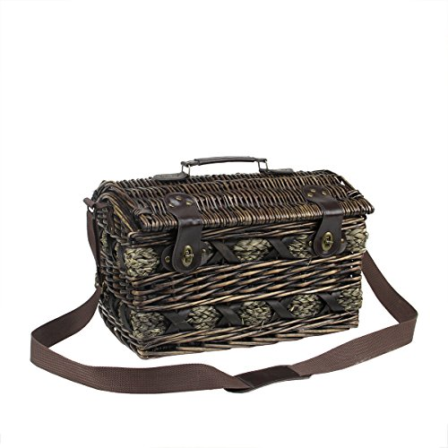 Picnic Basket Dish Set : Person hand woven chocolate brown willow picnic basket