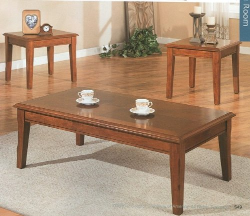 Buy Low Price 3pcs Contemporary Cherry Finish Coffee End Table Set Vf F3049 Coffee Table