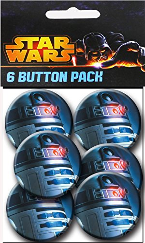 C&D Visionary Star Wars R2D2 Close Up 1.25 Inch Button, (6-Piece) - 1