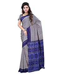 Surat Tex Cream & Navy Blue Crepe Daily Wear Printed Sarees With Blouse Piece-E583SE1001DSP