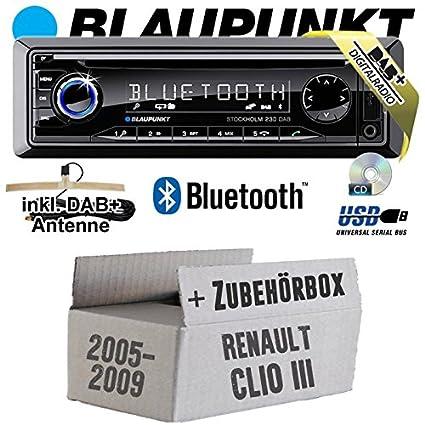 Renault Clio 3 - BLAUPUNKT Stockholm 230 DAB - DAB+/CD/MP3/USB Autoradio inkl. Bluetooth - Einbauset