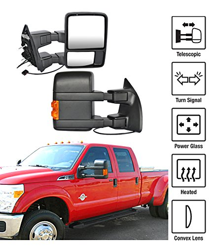 2008-2015 Ford F-250 F-350 Super Duty Towing Mirrors Pair Set Power Heated Glass With Convex Lens LED Turn Signal Telescoping Arms Pickup Truck Side View Mirrors (2014 F250 Tow Mirrors compare prices)