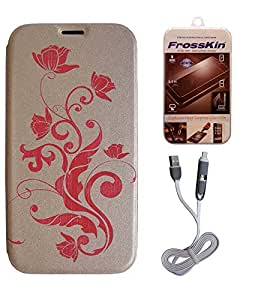 FrossKin Flip Cover + 2in1 High Speed White Data Cable + Tempered Glass For Apple iPhone 6 Brown