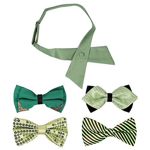 Bmc 5 Pc Mens Formal Tuxedo Assorted Type Pre-Tied Adjustable Neck Tie Bowtie Variety Pack - Set 7: Ain'T Easy Being Green