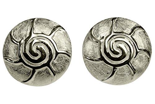 SILBERMOOS Clou d'oreille femme soleil romain ecusson brossé brillant boucles d'oreille argent sterling 925