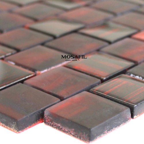 Glasmosaik Fliesen Lava Rot 30x30x8mm