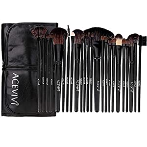 FEOYA Professional 24 pcs Original Wooden Handle Handmade Cosmetic Makeup Brushes Facial Brush Kit Set with Leather Case - Black