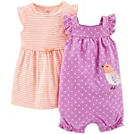 Carter's 2 Piece Dress & Romper Set (Baby) - Purple-3 Months