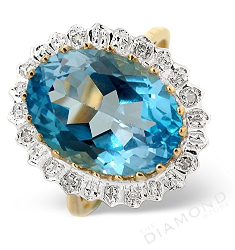 J R Jewellery 9k Yellow Gold Blue Topaz Oval & Diamond Ring Made In Jewellery Quarter London.