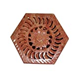 Avinash Handicrafts Soap Stone Carved Hexagonal Jewellery Box (8.5cm X7.5cm X3.8cm)