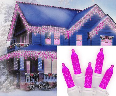 Set of 70 Hot Pink LED M5 Icicle Christmas Lights
