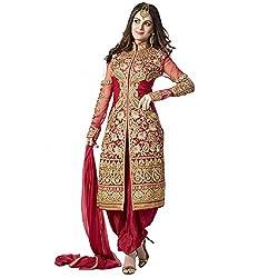 Prachi Silk Mills Women`s Georgette Embroidered Semi-stitched Salwar Suit Dupatta Material(Red Sherwani)
