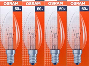 4 pack osram 60w classic b35 clear candle light bulbs ses. Black Bedroom Furniture Sets. Home Design Ideas