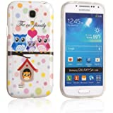 tinxi® Design Schutzhülle für Samsung Galaxy S4 Mini Hülle TPU Silikon Rückschale Schutz Hülle Tache Silicon Case Cover Eulen Familie