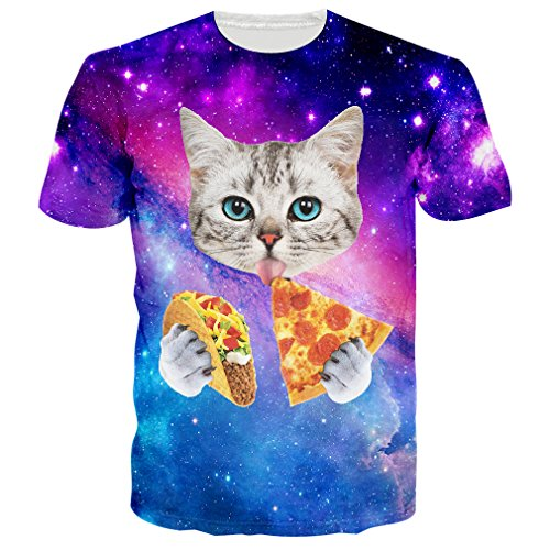 RAISEVERN 3d Galaxy Space Cat Printed Hip Hop Stylish Jersey T-Shirts (Taco Cat Space Shirt compare prices)