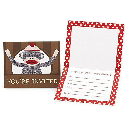 Sock Monkey Red Invitations (8)