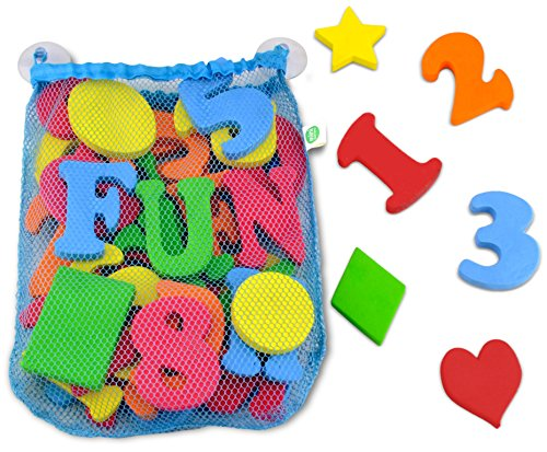 44 Piece Set Foam Bath Letters And Numbers With Bonus Shapes Mesh Toy Organizer Included To Prevent Mold For Tidy Storage