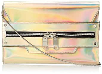 MILLY Demi Hologram Clutch,Champagne,One Size