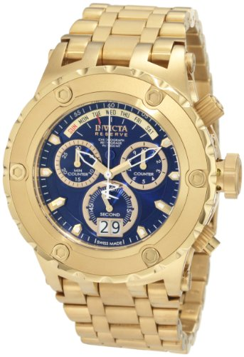 b6e61b0ec Invicta Men s 1567 Reserve Chronograph Blue Dial 18k Gold Ion Plated  Stainless Steel Watch