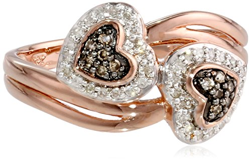 Sterling Silver Bypass Heart Brown and White Diamond Ring (1/5 cttw, I-J Color, I2-I3 Clarity), Size 7