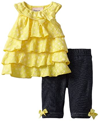 Little Lass Baby-Girls Infant 2 Piece Capri Set with Layers, Yellow, 6-9 Months